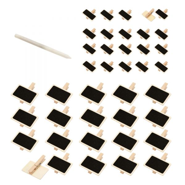 Kleine Holztafeln auf Holzklammer & Kreidestift, MIX-Set, 41-tlg.