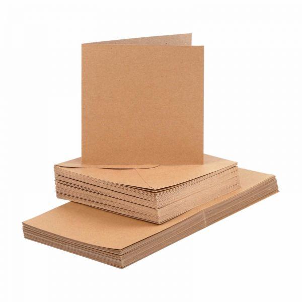 BODA Karten und Briefumschläge Set, 14,8 x 14,8 cm, Kraftpapier, 100-tlg.