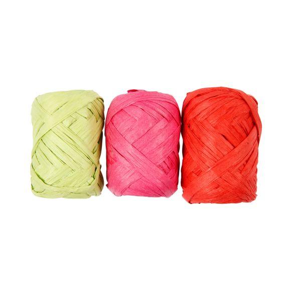 Papierbast, 3er-Set à 10 m hellgrün pink hellrot Bastband
