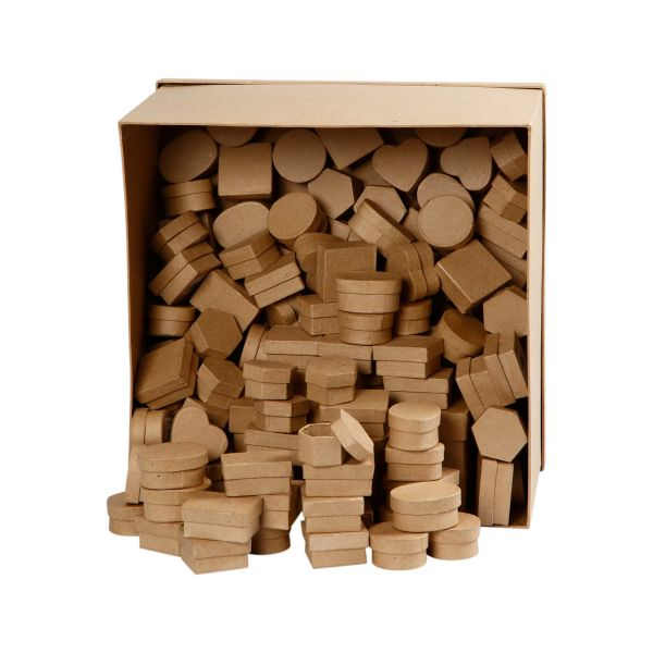 Mini-Schachteln, 144 Stück, sortiert in 6 Designs, aus Pappmaché