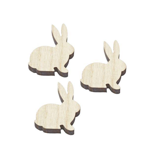 Holzstreuteil Hase, ca. 5 cm, weiß, 3 Stück