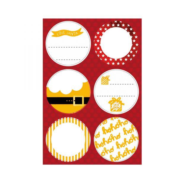 Runde Etiketten zum Beschriften, gold weiß, D 5 cm , 24 Stück