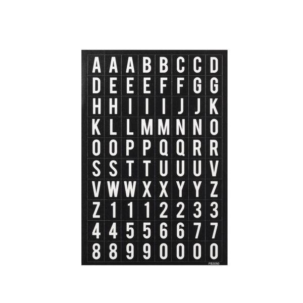 Sticker ABC und Zahlen 0 - 9, schwarz-weiß