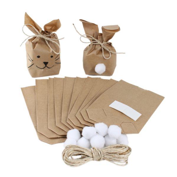 BODA Geschenktüten Mini-Hasen 9 x 3,5 x 15 cm, 10er-Set