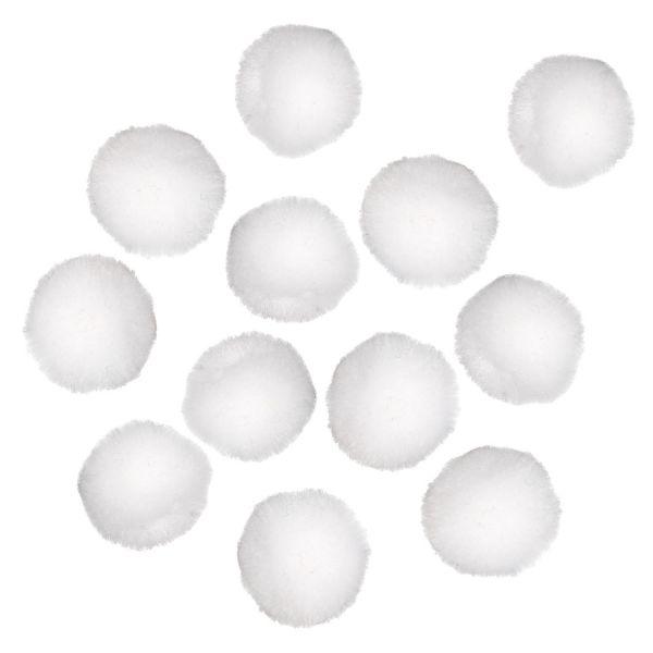 Pompons, ca. 2 cm, weiß, 100 Stück