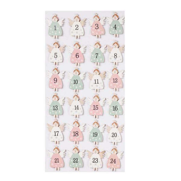 Adventskalenderzahlen 1 bis 24 Engel, ca. 4,5 cm