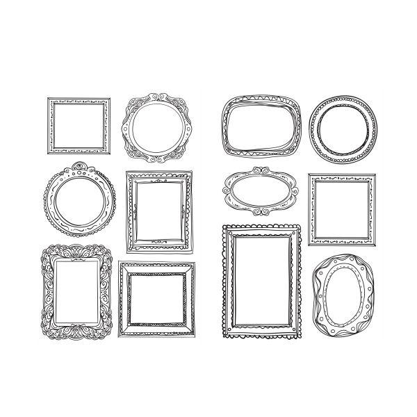 24 Sticker Rahmen, 4 Bogen mit jeweils 6 Motiven