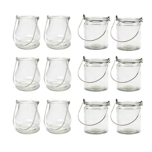 Glas-Laternen MIX, H 10 cm, 12 Stück