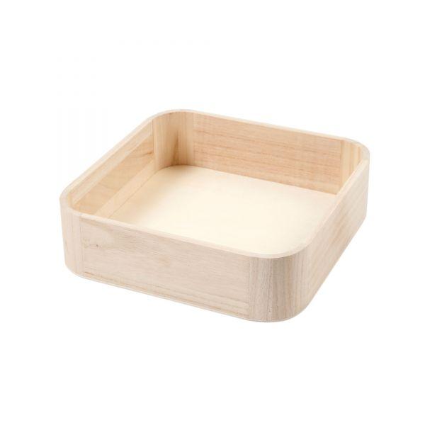 Tablett Quadrat aus Holz, B25 x T25 x H7 cm