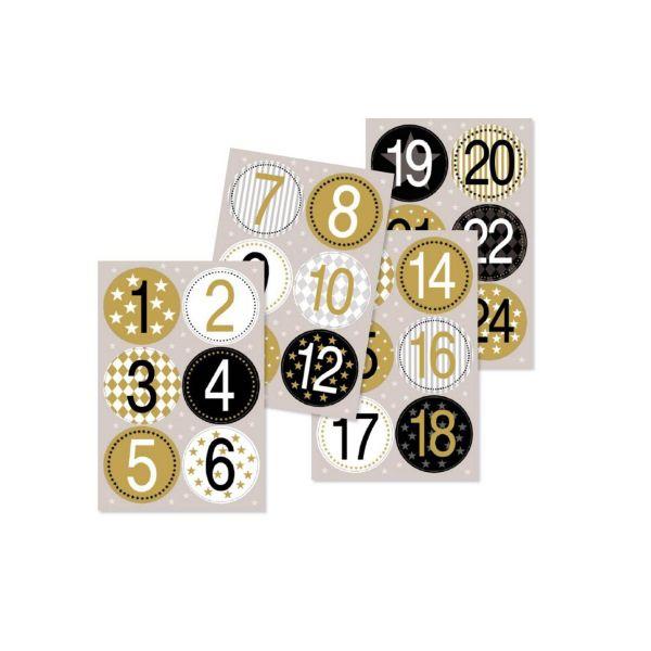 24 Adventskalenderzahlen schwarz-weiß-gold, selbstklebend