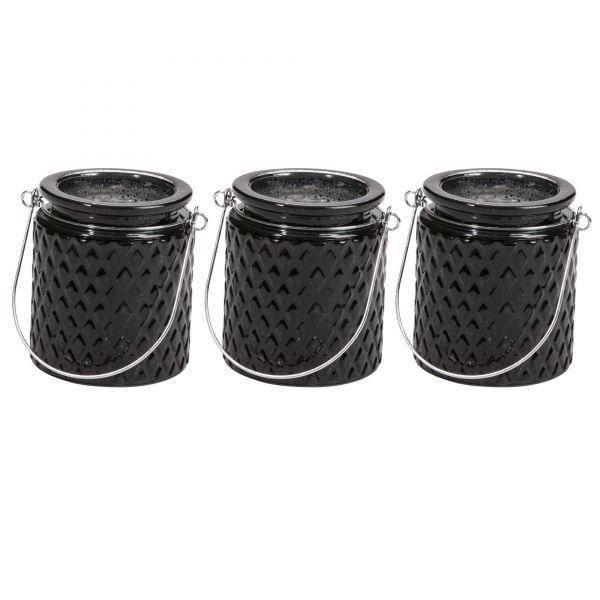 Windlicht Glaslaterne Raute schwarz silber, H 9 cm