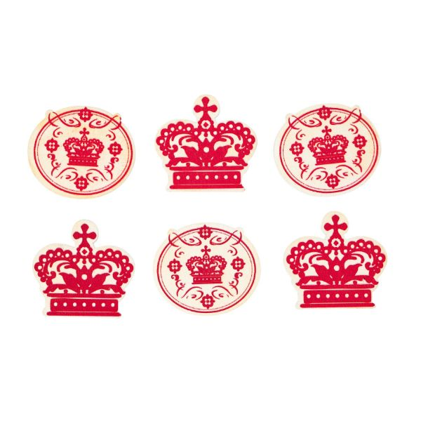 Holzelement Royal mit Klebepunkt, 6 Stück