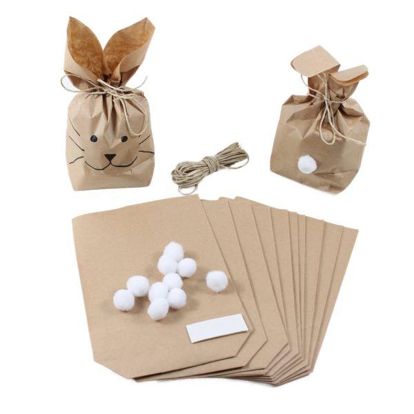 BODA Geschenktüten Hasen klein 14 x 5 x 21,5 cm, 10er-Set