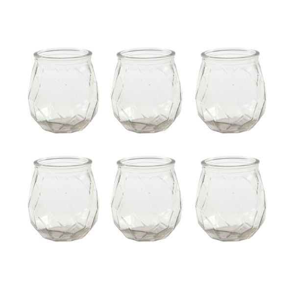 Kerzenglas, H 10,5 cm, D 9,5 cm, 6 Stück