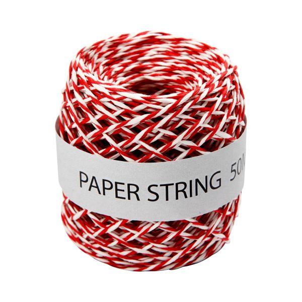 Papierschnur rot/weiß, 50 m