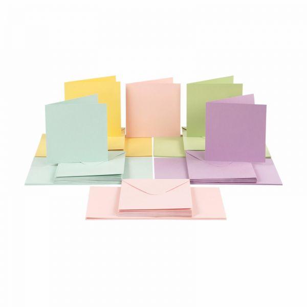 Karten und Briefumschläge Set, 15 x 15 cm, pastell, 100-tlg.