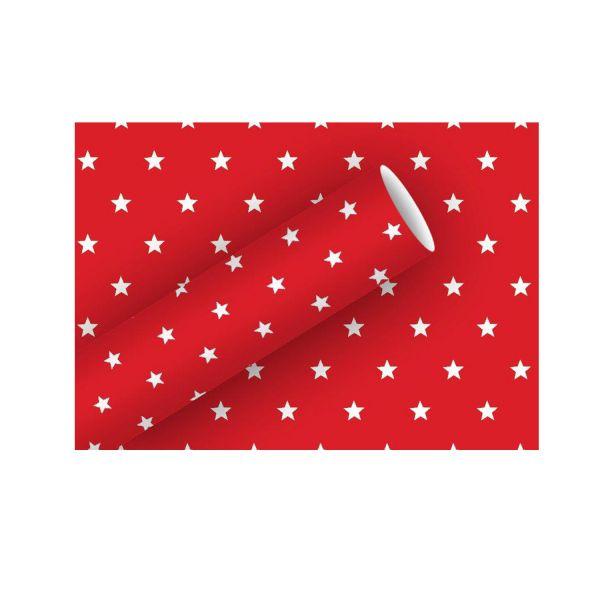 Geschenkpapier rot mit weißen Sternen, 70 cm x 2 m