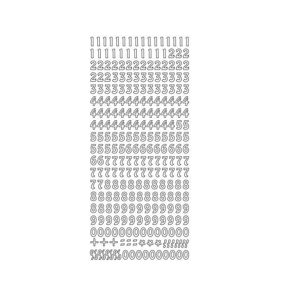 Selbstklebende Zahlen, H ca. 8 mm, weiß