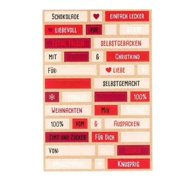 152 Sticker Wortspiel, rot-beige