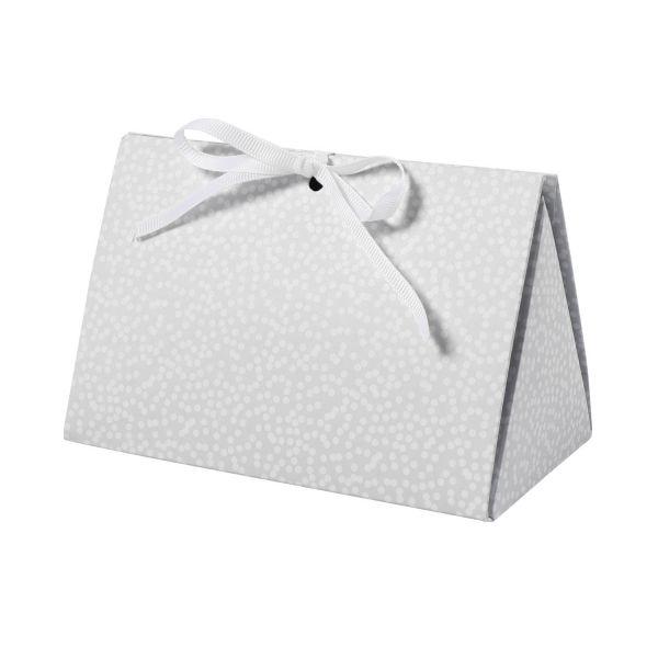 Geschenkbox 15 x 7 x 8 cm, grau mit weißen Punkten, 3 Stück