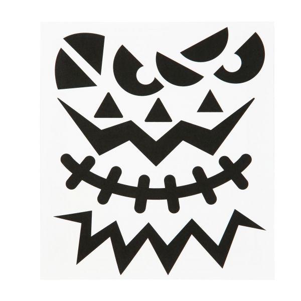 Sticker Kürbisgesicht Halloween groß, 3 Stück sortiert