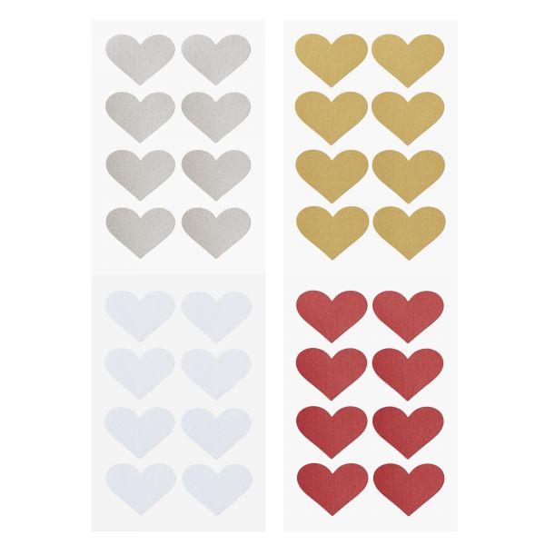 Herz Sticker, ca. 4,2 cm, 32 Stück