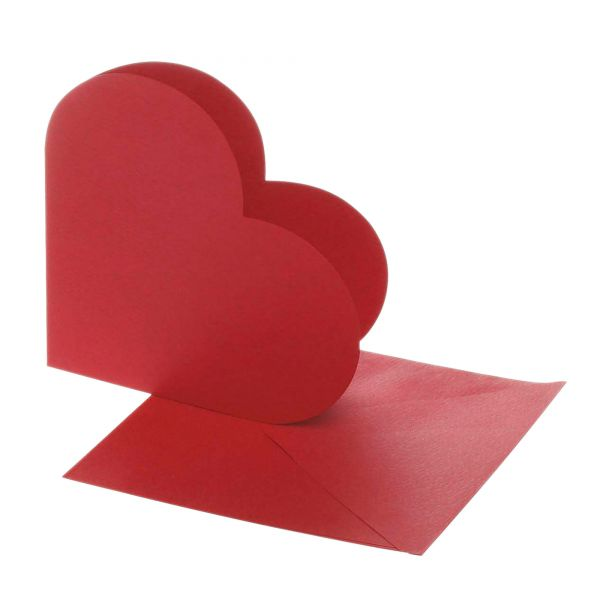 Kartenset Herz 12,5 x 12,5 cm, rot, 20-tlg