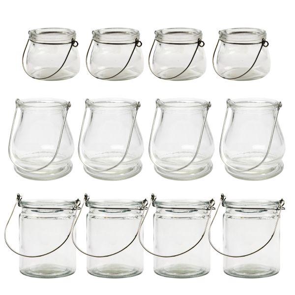 Kleine Glaslaternen MIX-Set, 12 Stück H 6-10 cm
