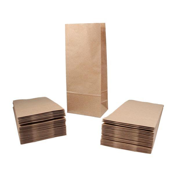 BODA Papiertüte klein aus Kraftpapier, ca. 8 x 6,5 x 19 cm, 50 Stück