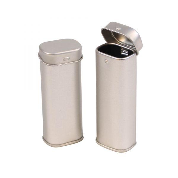 Mini Blechdose mit Schanierdeckel, silber, ca. 3,2 x 2,3 x 8,0 cm