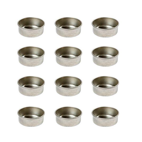 Teelichteinsätze aus Metall, 12 Stück