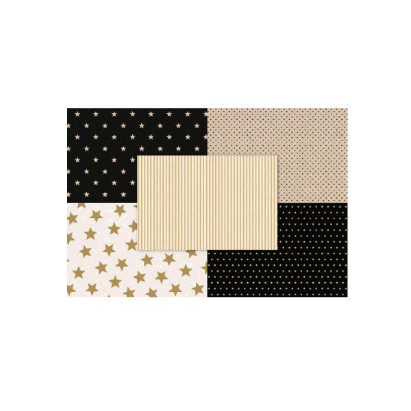 Gewachstes Seidenpapier 35 x 50 cm, 10 Bogen, natur schwarz gold