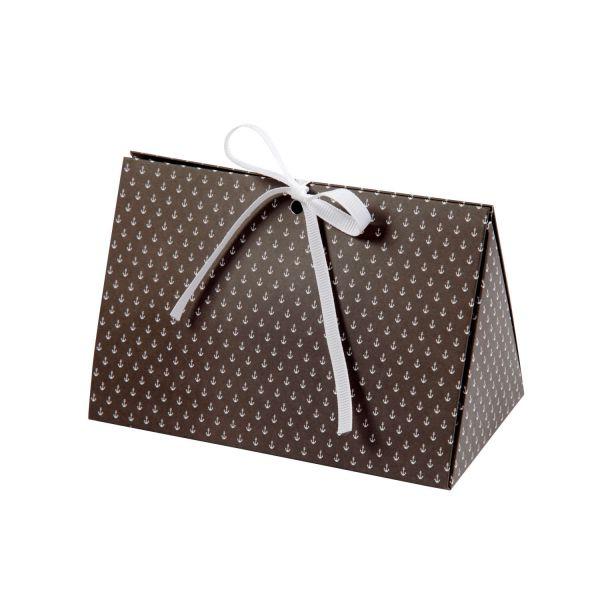 Geschenkbox 15 x 7 x 8 cm, schwarz mit weißen Mini Ankern, 3 Stück