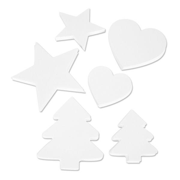 Herz, Stern und Tannenbaum aus Karton, weiß, 300 Stück