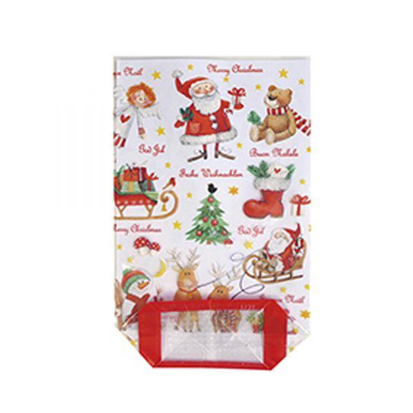 Klarsichtbeutel Frohe Weihnachten, ca. 11,5 x 19 cm, 10 Stück, inkl. Verschlussclips