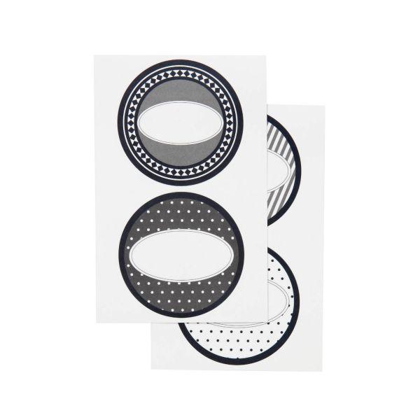 8 runde Sticker Etiketten schwarz/weiß, 4 Motive