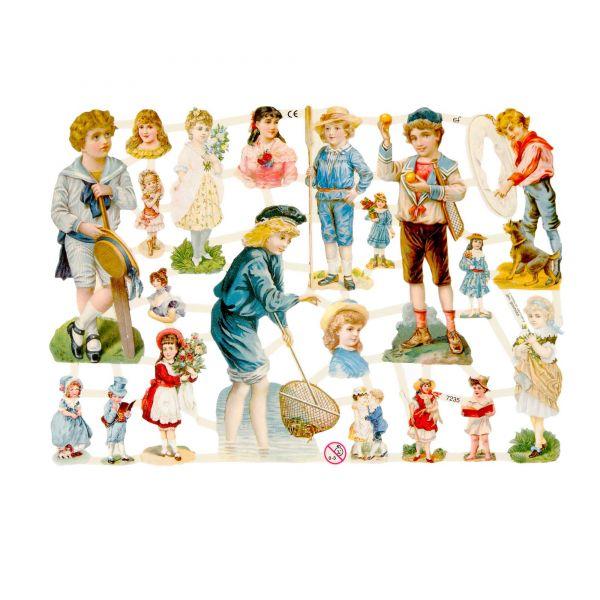 Glanzbilder, Motiv Kinder Vintage, 3 Bogen, Poesiebilder Oblaten