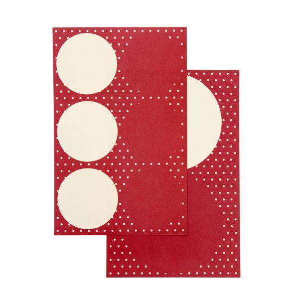 16 runde Sticker Durchmesser 4 + 6,5 cm, rot/natur