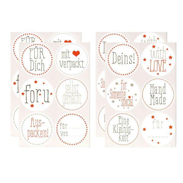 24 Sticker Für Dich selbst gemacht, D 5,3 cm