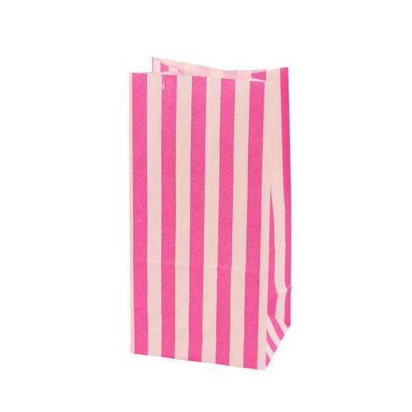 Blockbodenbeutel gestreift 9,8 x 7 x 20 cm, pink/weiß