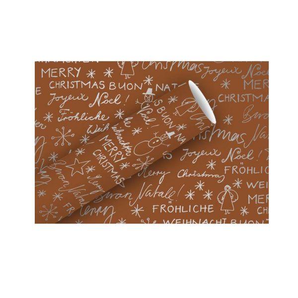 Geschenkpapier Merry Christmas, 70 cm x 2 m, kupfer-silber