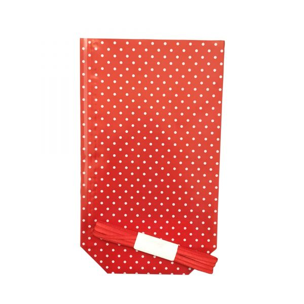 Folienbeutel rot mit weißen Punkten, ca. 11,5 x 19 cm, 10 Stück, inkl. 3 m Satinband