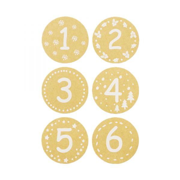 Adventskalenderzahlen Aufkleber rund Kraftpapieroptik, Ø 4 cm