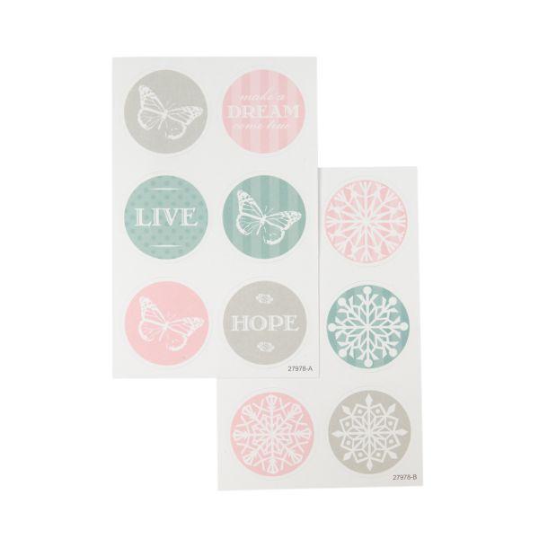 24 runde Sticker Vintage Pastell