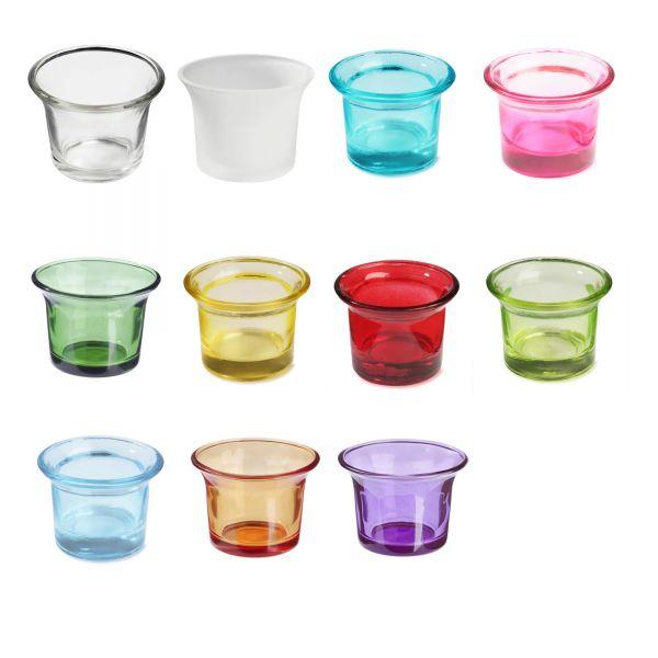 Teelichtglas, Ø 6,5 x H 4,7 cm, 10 Stück
