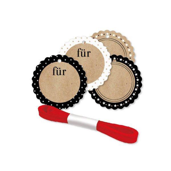 Geschenkanhänger rund Ø 5 cm, 4 Stück inkl. Satinband