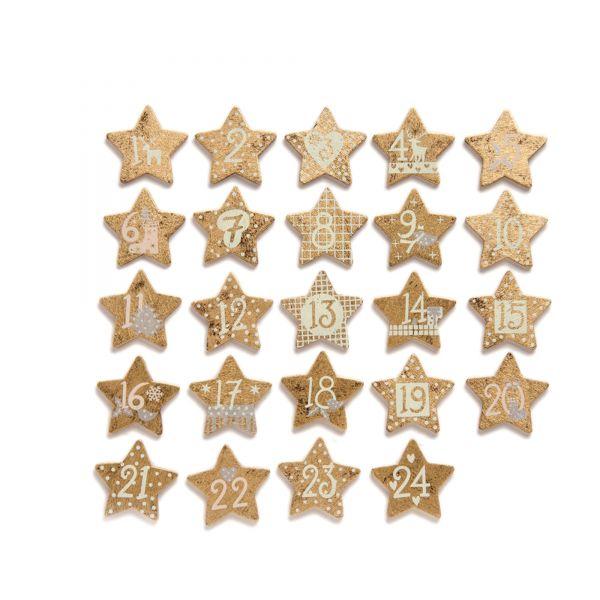 Adventskalenderzahlen 1-24 Holz-Sterne GOLD
