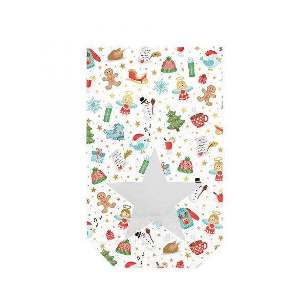 Folienbeutel weiß mit Weihnachtsmotiven und Sichtfenster in Sternform, ca. 14,5 x 23,5 cm, 10 Stück,