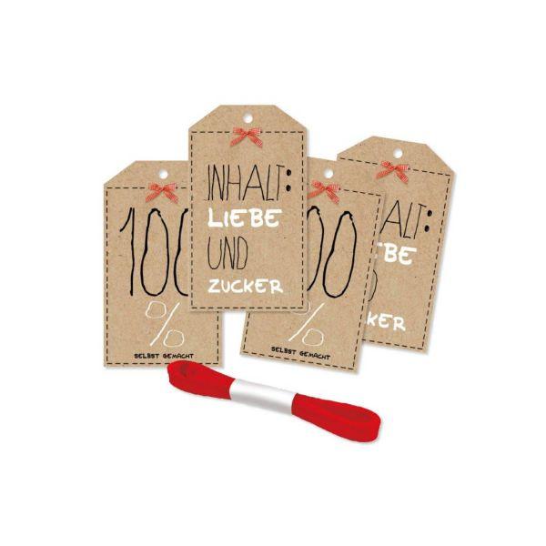Geschenkanhänger 100% selbst gemacht, 4 Stück inkl. Satinband