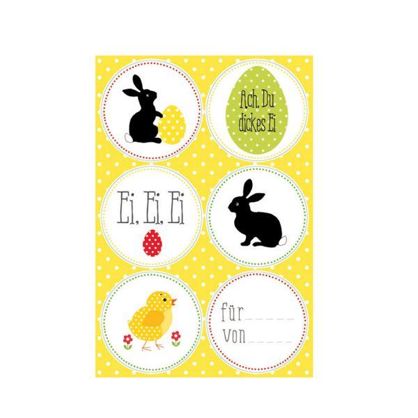 24 Sticker Ostern, 4 Bogen mit 6 Motiven